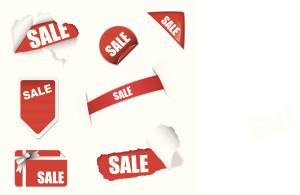 Red shop sale elements on white background design concept