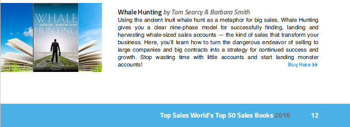 Top Sales World Names Whale Hunting to Top 50 Sales Books 2016