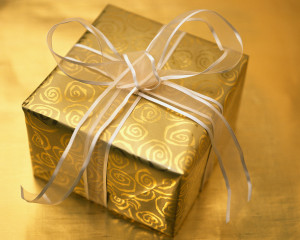 Christmas Present Wrapped in Gold and Silver 2000