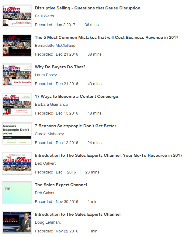 Sales Expert Channel List