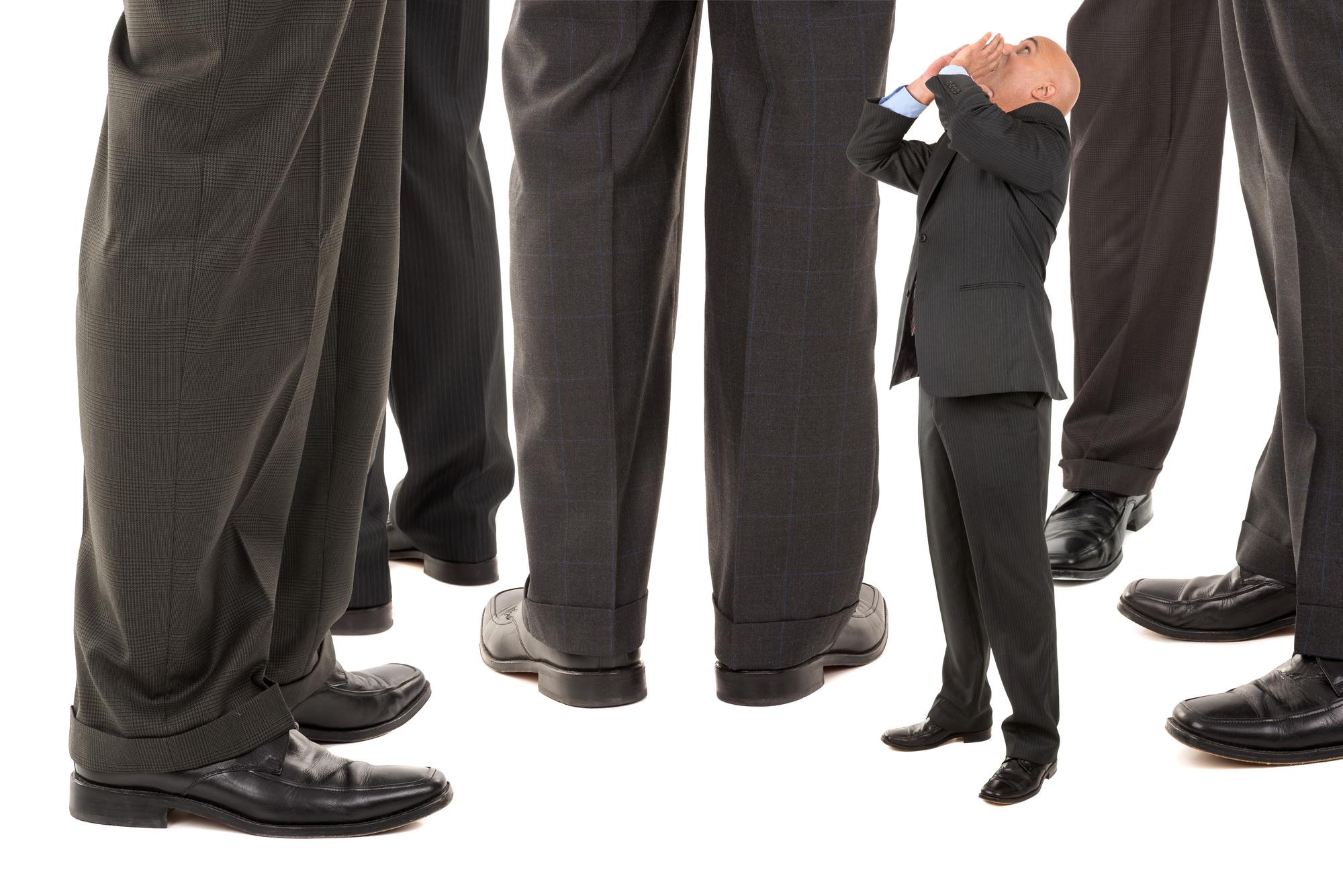 Small businessman needs confidence.